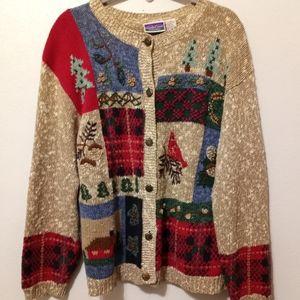 North Crest Heavy Knit Fair Isle Sweater Multi L